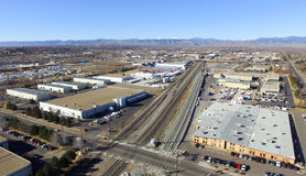 Flyg- sikt av Denver i Colorado Royaltyfria Bilder