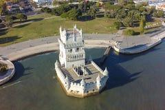 Flyg- sikt av det Belem tornet - Torre de Belem i Lissabon, Portugal Fotografering för Bildbyråer
