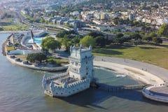 Flyg- sikt av det Belem tornet - Torre de Belem i Lissabon, Portugal Royaltyfri Bild