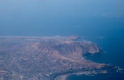 Flyg- sikt av det Callao området i Lima, Peru Arkivfoton