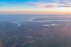 Flyg- sikt av det härliga Colchester området arkivfoto