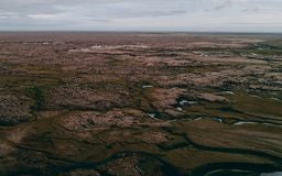 Flyg- sikt av det icelandic landskapet arkivfoton