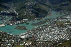 Flyg- sikt av det Kuapa dammet, Hawaii Kai Town Arkivfoton