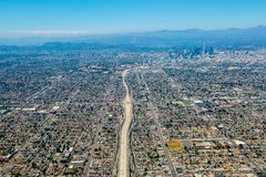 Flyg- sikt av det Los Angeles centret royaltyfria foton