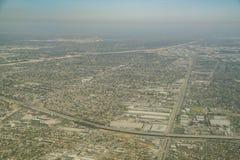 Flyg- sikt av det Lynwood området, plazaen Mexico och Comptonen royaltyfri foto