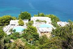 Flyg- sikt av det Marbella hotellet, Korfu, Grekland Arkivfoto