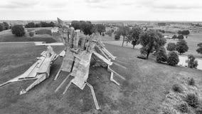 Flyg- sikt av det nionde fortet, Kaunas - Litauen Arkivfoto