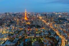 Flyg- sikt av det tokyo tornet Arkivfoto