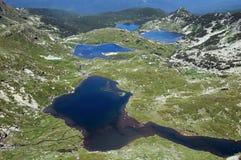 Flyg- sikt av det tvilling- och fisk sjöarna Fotografering för Bildbyråer