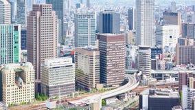 Flyg- sikt av det Umeda området, Osaka, Japan lager videofilmer