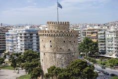 Flyg- sikt av det Whiite tornet, Thessaloniki, Grekland royaltyfri bild
