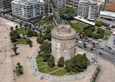 Flyg- sikt av det Whiite tornet, Thessaloniki, Grekland arkivbild