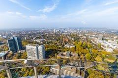 Flyg- sikt av Dortmund, Tyskland arkivbild
