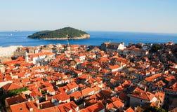 Flyg- sikt av Dubrovnik Arkivfoto