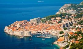 Flyg- sikt av Dubrovnik den gamla staden royaltyfria bilder