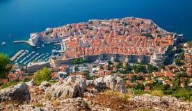 Flyg- sikt av Dubrovnik den gamla staden arkivfoton
