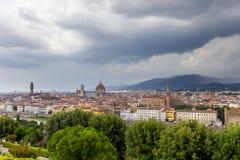 Flyg- sikt av Duomodomkyrkan i Florence Italy Royaltyfria Bilder