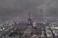 Flyg- sikt av Eiffeltorn Arkivbild