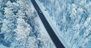 Flyg- sikt av en bilkörning på en snöig skogväg 4K lager videofilmer
