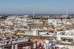 Flyg- sikt av en del av Seville Spanien arkivbilder