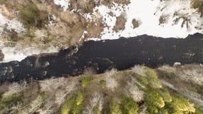 Flyg- sikt av en flod i skogen med sn? l?ngs bankerna royaltyfri foto