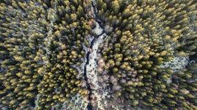 Flyg- sikt av en flod i skogen med sn? l?ngs bankerna arkivfoto
