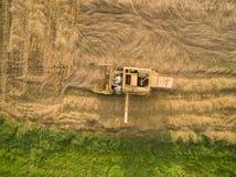 Flyg- sikt av en gammal skördetröska på kornskörden Royaltyfri Fotografi