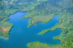Flyg- sikt av en lagunBocas del Toro Panama Arkivfoton