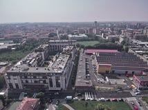 Flyg- sikt av en parkera i Milan royaltyfria bilder