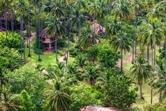 Flyg- sikt av en tropisk semesterort royaltyfri bild
