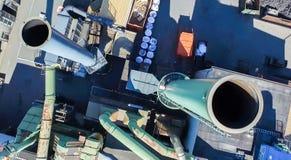 Flyg- sikt av enorma industriella lampglas Royaltyfria Foton