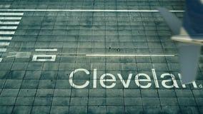 Flyg- sikt av ett flygplan som ankommer till den Cleveland flygplatsen Lopp till tolkningen för Förenta staterna 3D Arkivfoton