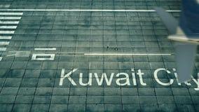 Flyg- sikt av ett flygplan som ankommer till den Kuwait City flygplatsen Lopp till den Kuwait 3D tolkningen Royaltyfria Bilder