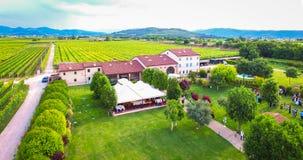 Flyg- sikt av ett gammalt lantbrukarhem i vingårdarna nära Soave, Ita royaltyfri bild