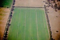 Flyg- sikt av ett grönt jordbruks- fält royaltyfri fotografi