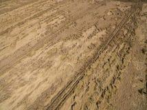 Flyg- sikt av ett vetefält som är brutet vid det sista regnet med en åskväder Förstörelse av sädes- skördar Royaltyfri Foto