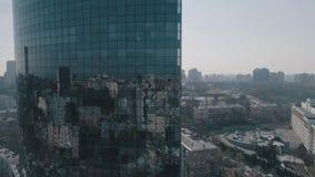 Flyg- sikt av exponeringsglasskyskrapan i Kyiv arkivfilmer