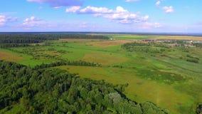 Flyg- sikt av fält, skogar och en by på bakgrund lager videofilmer