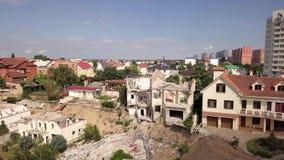 Flyg- sikt av följderna av jordskredet i Chernomorsk, Ukraina lager videofilmer