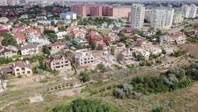Flyg- sikt av följderna av jordskredet i Chernomorsk, Ukraina arkivfilmer