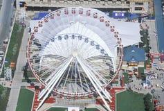 Flyg- sikt av Ferris Wheel, marinpir, Chicago, Illinois Fotografering för Bildbyråer