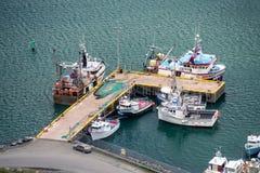 Flyg- sikt av fiskebåtar arkivbilder