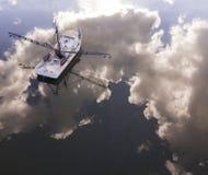 Flyg- sikt av fiskebåten i South Carolina royaltyfri bild