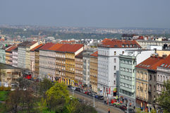 Flyg- sikt av fjärdedelen i Prague Royaltyfria Bilder