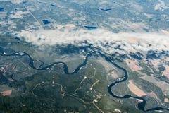 Flyg- sikt av floden, Kanada Royaltyfria Foton