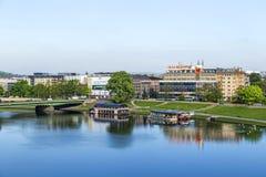 Flyg- sikt av floden Vistula i Krakow Fotografering för Bildbyråer