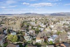 Flyg- sikt av Fort Collins, Colorado Royaltyfria Bilder