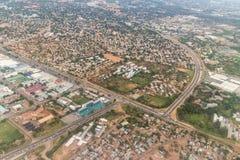 Flyg- sikt av Gaborone Royaltyfria Bilder