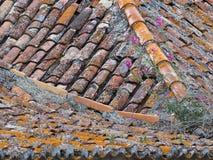 Flyg- sikt av gamla tegelplattor p? ett tak arkivfoton