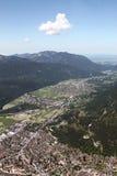 Flyg- sikt av Garmisch, Tyskland Royaltyfri Fotografi